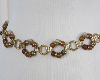 Vintage Goldtone Beaded Chain Belt
