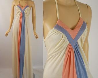 Vintage 1970s Halter Dress Ivory Blue Pink Slinky Jersey Knit Sz 5/6 B36