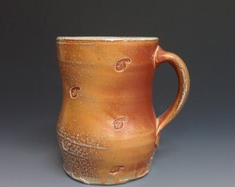 Coffee Mug with Leaf Decoration.  Soda Fired Pottery (#1)