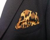 LEOPARD POCKET SQUARE -  Hanky, Black Tan Brown Animal Print, Leopard Wedding,  Men, Leopard pocket square, suit hanky,  10