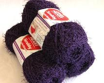 Dishcloth Red Heart Scrubby yarn, GRAPE purple, worsted weight, washcloth polyester yarn, bath toy yarn
