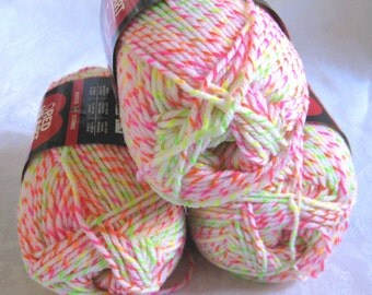 White Red Heart Tweed Twist  yarn, neon Orange Green Pink worsted weight yarn