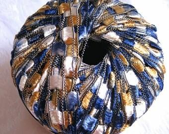 Berlini Ladder Ribbon Yarn Maxi,  PRINCE 146, wide ribbon yarn, trellis yarn, gold navy white
