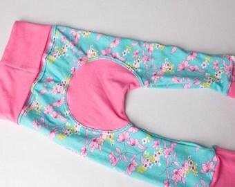 Maxaloones, Pink Blossom cloth diaper pants, babywearing pants, grow with me pants