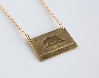 California Necklace - CA Flag - California Jewelry - California Flag - California Bear - Los Angeles Necklace - San Francisco Necklace