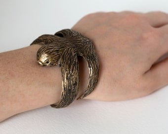 Sloth Bracelet - Sloth Jewelry - Sloth Cuff - Sloth Sculpture - Animal Bracelet - Animal Jewelry