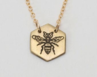 Hexagon Necklace - Bee Necklace - Simple Necklace - Honeybee Jewelry - Bee Charm - Etched Bee Necklace - Honeybee Jewelry - Delicate Jewelry