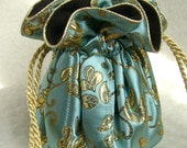 King Midas Anti Tarnish Jewelry Pouch Bag in gold and robin's egg