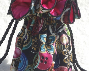 Tim's Button Bag Jewelry Tote in multicolor with bright pink