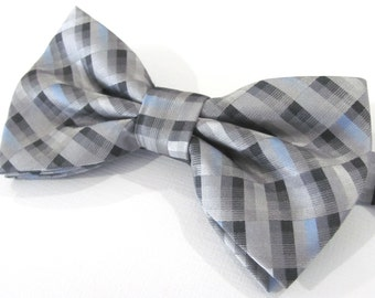 Mens Bowties.Blue Gray Checkers Bow tie. With Matching Pocket Square Option