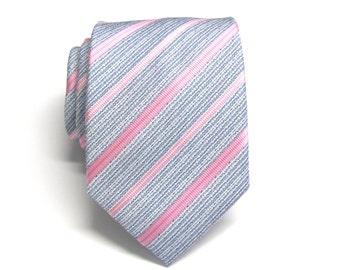 Mens Ties Necktie Pink Gray Blue Stripes Mens Tie