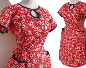 Vintage 50s Swirl Wrap Dress Red White Blue Daisy Flower Cotton Summer M