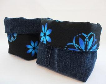 Fabric Organizer Basket, Storage Basket: Blue & Black Geometric