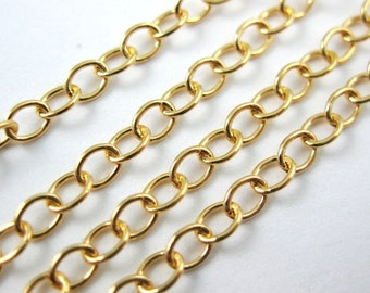 Gold Plated over 925 Sterling Silver Chain,  Unfinished Bulk Chain,Cable Chain (50 feet )Jewelry Supplies Wholesale-30% off- SKU: 101014_VM
