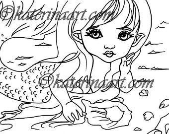 Little Sirenita Mermaid Shells INSTANT DOWNLOAD Digi Stamps fantasy art By Katerina Art