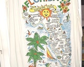 Vintage 60s Florida Beach Towel Terry Cloth Map