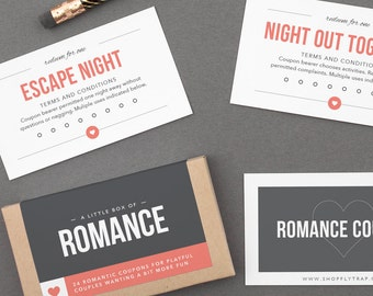 "Romantic Love Coupons for Girlfriend, Boyfriend, Husband, Wife, Him, Her. Wedding, Anniversary Gift. Sexy, Sweet. ""Romance Coupons"" (L2L02)"