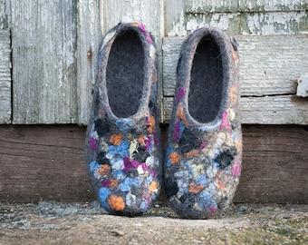 Organic wool slippers Handmade felt footwear Brown house shoes Boiled wool slippers