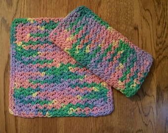 Crochet Cotton Dishcloth set of 2 in Rainbow Variegated