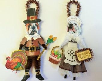 Bulldog THANKSGIVING PILGRIM ornaments Dog ornaments vintage style chenille ORNAMENTS set of 2