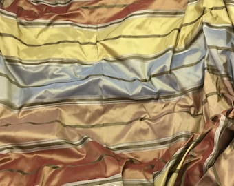 Blue Bronze & Olive Stripe Silk TAFFETA Fabric - 1 Yard