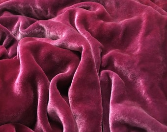 RASPBERRY Pink HAND DYED Silk Velvet Fabric fat 1/4