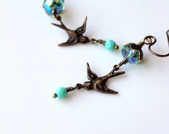Brass Bird Earrings / Dangling Swallow Earrings / Bras Song Bird / Turquoise Glass Beads / Swooping Swallows / Nature Lover Bird Earrings