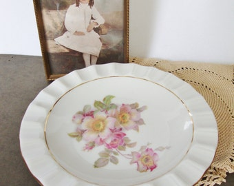 vintage schumann bavaria wild rose porcelain dish vanity tray