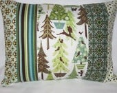 Alpine Wonderland Quilted Pillow Cover 12x16 - Woodland, Winter Forest, Deer, Squirrels, Birds, Wintergreen, Holiday, Christmas Decor