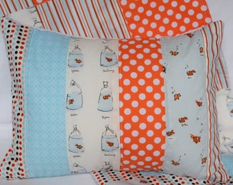 "Goldfish Quilted Pillow Cover 12""x16"" - Orange, Aqua Blue, Polka Dots, Stripes, Bubbles, Gender Neutral, Nursery Decor"