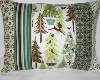 Alpine Wonderland Quilted Pillow Cover 12x16 - Woodland, Winter Forest, Deer, Squirrels, Birds, Wintergreen, Holiday, Christmas Decor