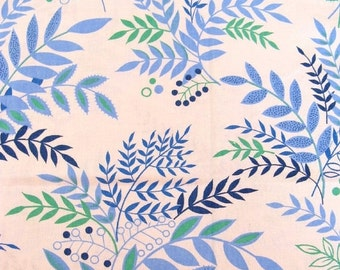NOW ON SALE vintage fabric - blue and green foliage - 42x48 inches
