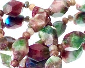 RESERVED FOR CHANELLOVE111 Watermelon Agate & Tourmaline Chunky Necklace