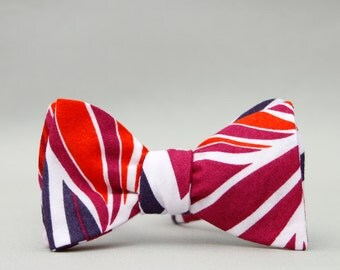 tropical self tie bow tie // eggplant, fuchsia, & orange bow tie //  mens cotton bow tie //  abstract bow tie