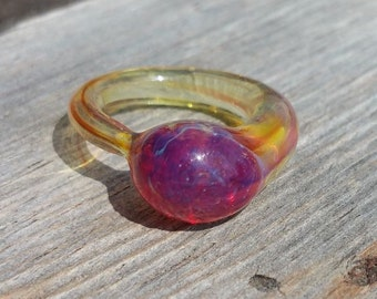 Opalescent Glass Ring with Pink Galaxy Marble Size 5