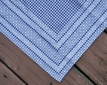 Vintage Square Tablecloth  Handmade Black White Checked Gingham Chicken Scratch Cross Stitch Table Cover, Country Table Topper