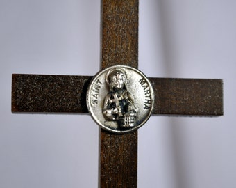 Saint Martha Wooden Cross signed Creed - Vintage St. Martha Catholic Religious Wall Decor