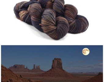 Souvenir  - Desert Night - DK Weight Yarn - Hand Dyed Yarn - Kettle Dyed Yarn - 100% Superwash Merino Wool - Desert Yarn