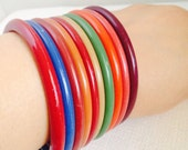 Vintage Plastic Autumn Bangle Bracelets Set of 9, Fall Colors, Thin