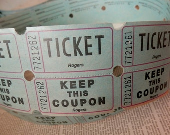 TICKETS VINTAGE EPHEMERA 24 Unused Raffle Tickets Double-Sided Light Blue