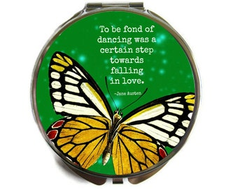 "Jane Austen ""To be fond of dancing..."" Compact Mirror Pocket Mirror Large"