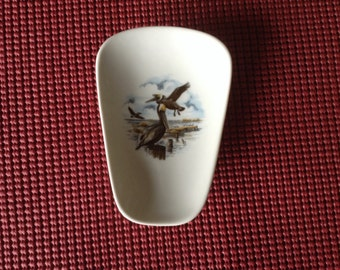 "Ceramic Spoon Rest with  pelican 5"" Long Top of Spoon 3 1/2 Wide"