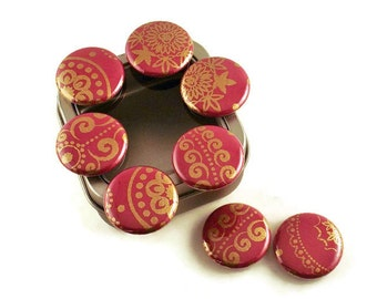 Set of 8 Cute Button One Inch Magnets Refrigerator Magnets in Ruby with Storage Gift Tin (BMT115)