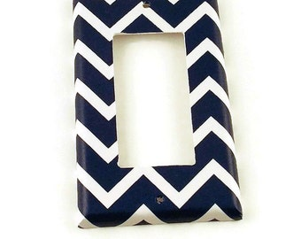 Wall Decor Rocker Light Switch Cover  Switch Plate Switchplate in Navy Chevron   (208R)