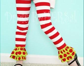 Christmas stripe knit ruffle leggings  18 24 2 3 4 5 6 7 8