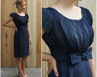 Vintage 50's/60's Navy Blue Wiggle Dress with Bow and Pleated Bodice | Small Medium