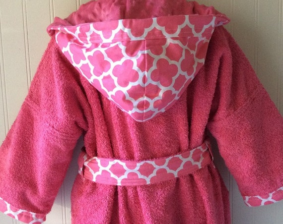 Child-Robes-Boy-Girls-Girl-Bath-Boys-Robe-Pink-Quatrefoil-Coif-Sleepwear-Childrens-Spa-Beach-Towels-Hooded-Swim-Suit-Terry-Cover Up