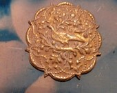 Gold Plated Frosted White Patina Brass Bird in a Tree Medallion Stamping 316WHT x1