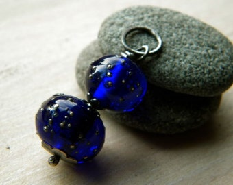 Cobalt Blue Handmade Lampwork glass pendant in sterling silver