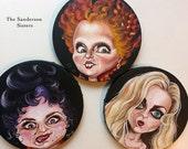 Sanderson Sisters Set of 3 original paintings Hocus Pocus Tribute Art by Queenie Pocket Full of Posiez